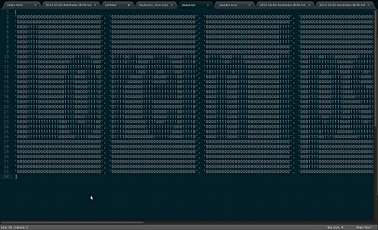 Lorem Ipsum rendered in Binary ascii text.